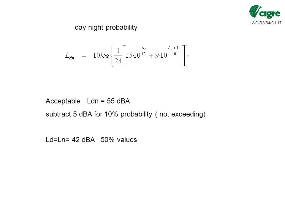 day night probability Acceptable Ldn = 55 dBA. subtract 5 dBA for 10% probability ( not exceeding)