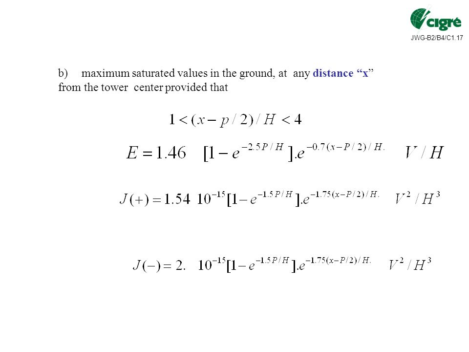 maximum saturated values in the ground, at any distance x