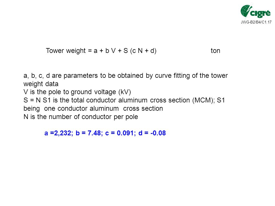 Tower weight = a + b V + S (c N + d) ton