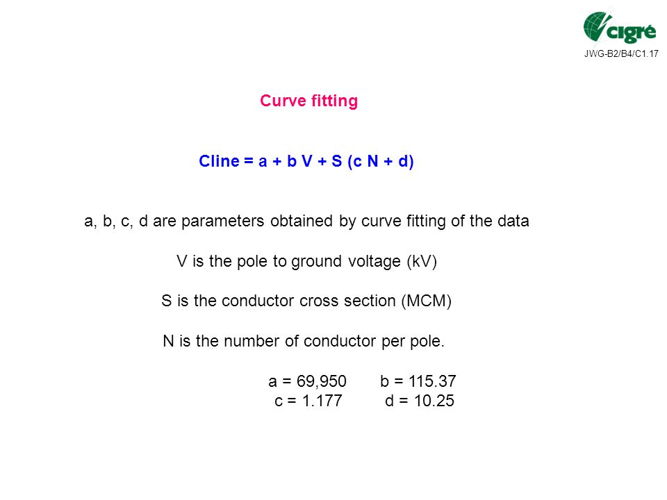 Curve fitting Cline = a + b V + S (c N + d)