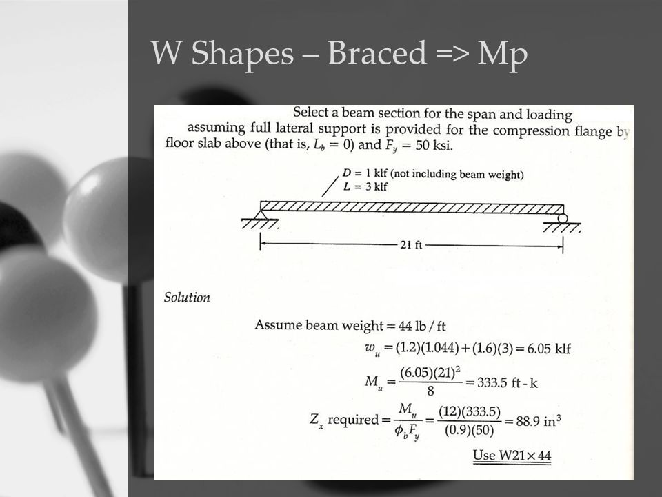 W Shapes – Braced => Mp