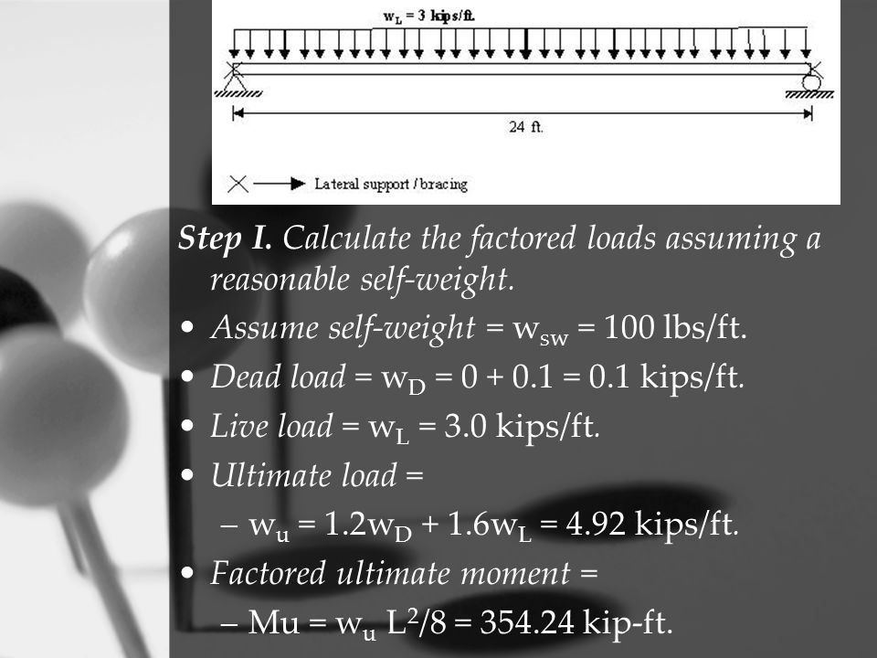 Step I. Calculate the factored loads assuming a reasonable self-weight.