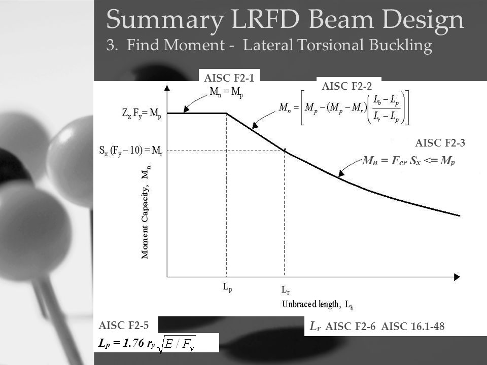 Summary LRFD Beam Design 3. Find Moment - Lateral Torsional Buckling