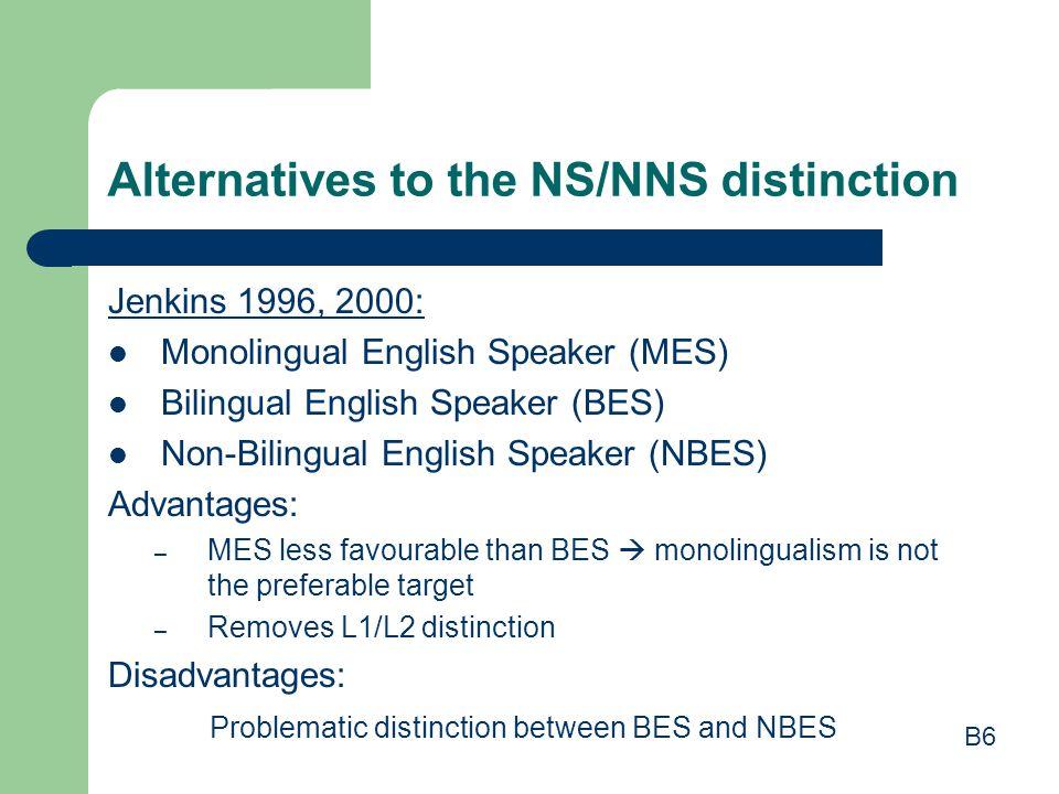 Alternatives to the NS/NNS distinction