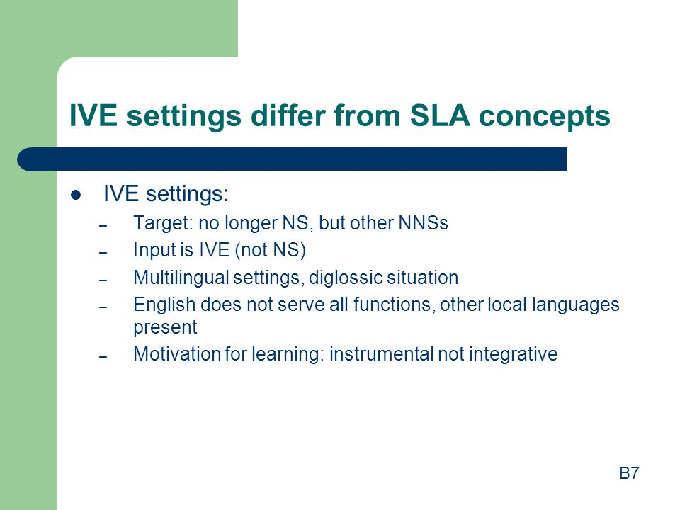 IVE settings differ from SLA concepts