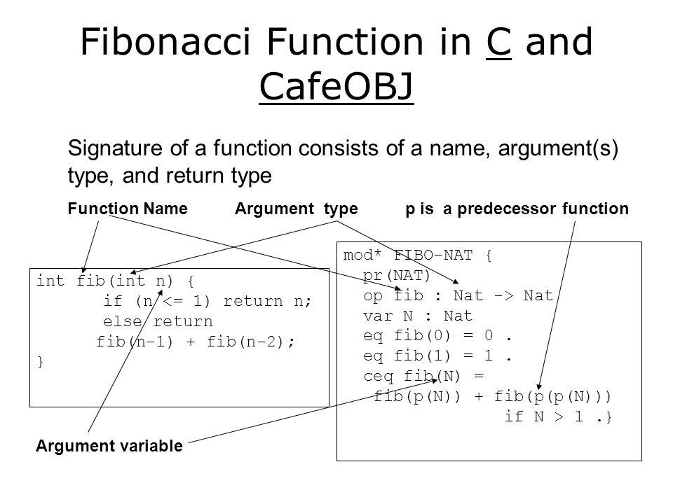 Fibonacci Function in C and CafeOBJ