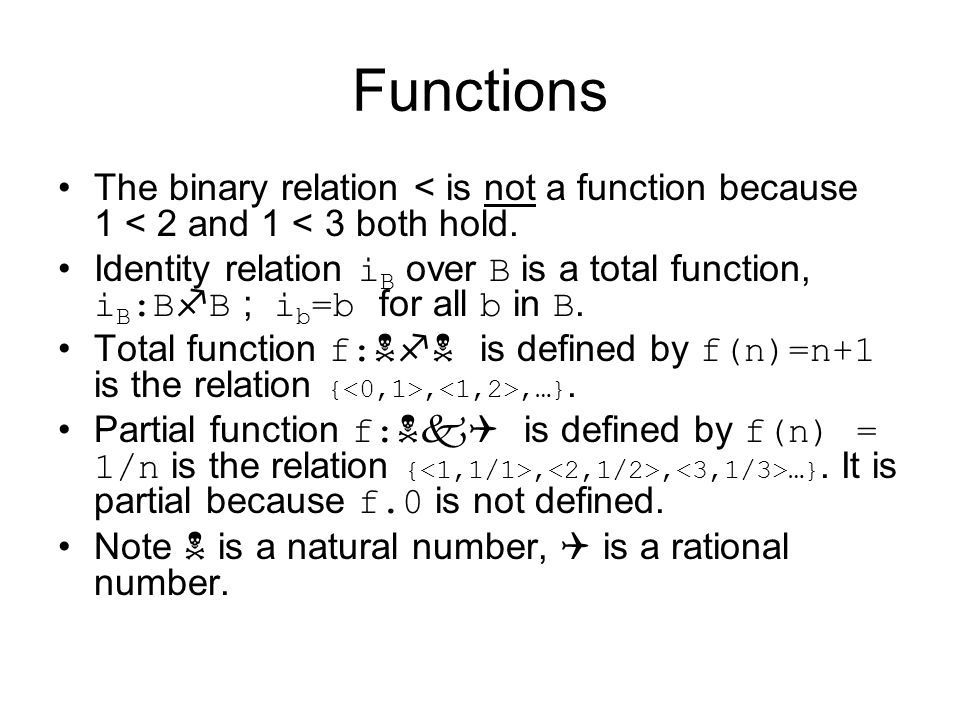Functions The binary relation < is not a function because 1 < 2 and 1 < 3 both hold.