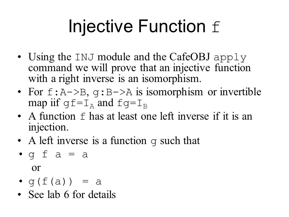 Injective Function f