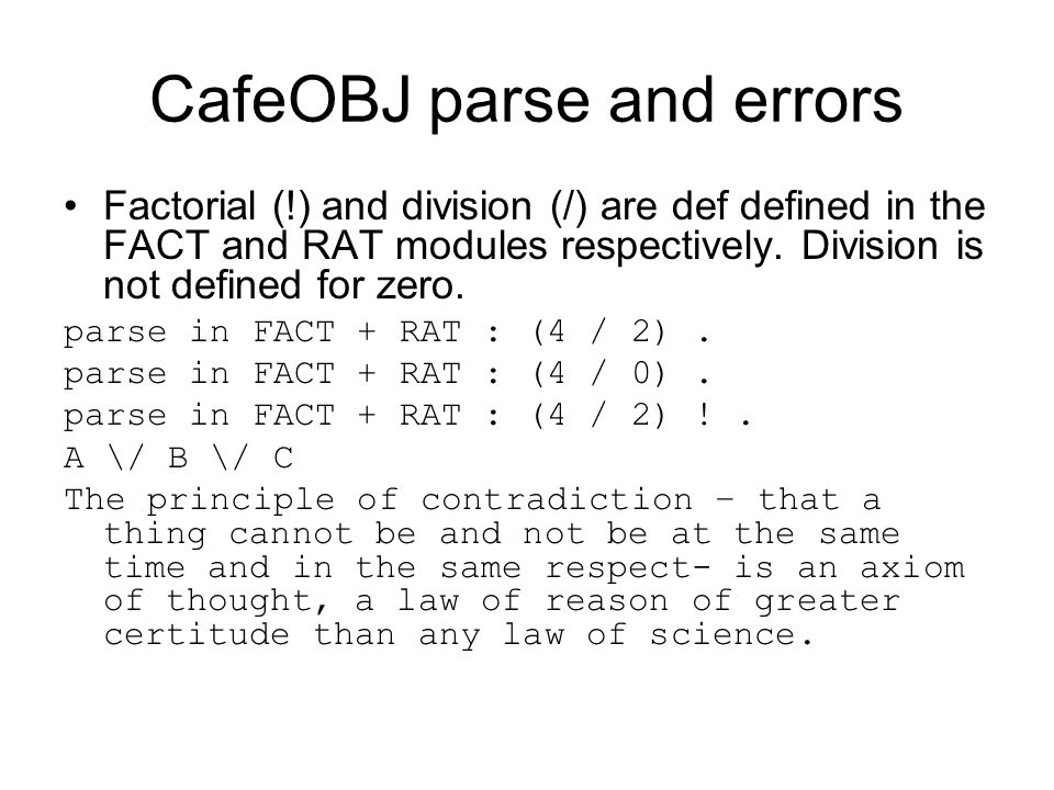 CafeOBJ parse and errors