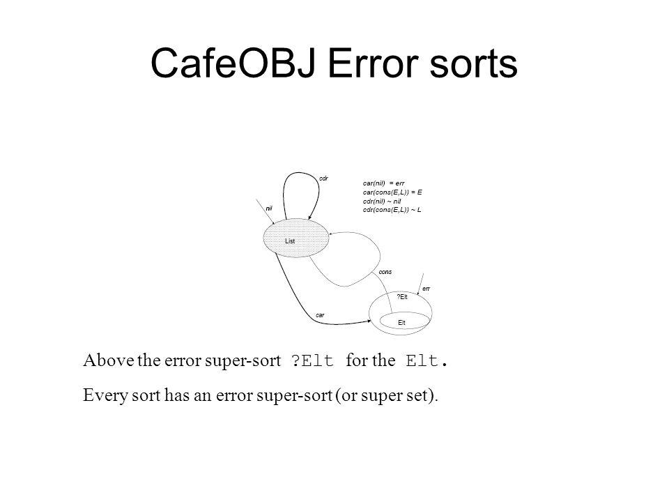 CafeOBJ Error sorts Above the error super-sort Elt for the Elt.