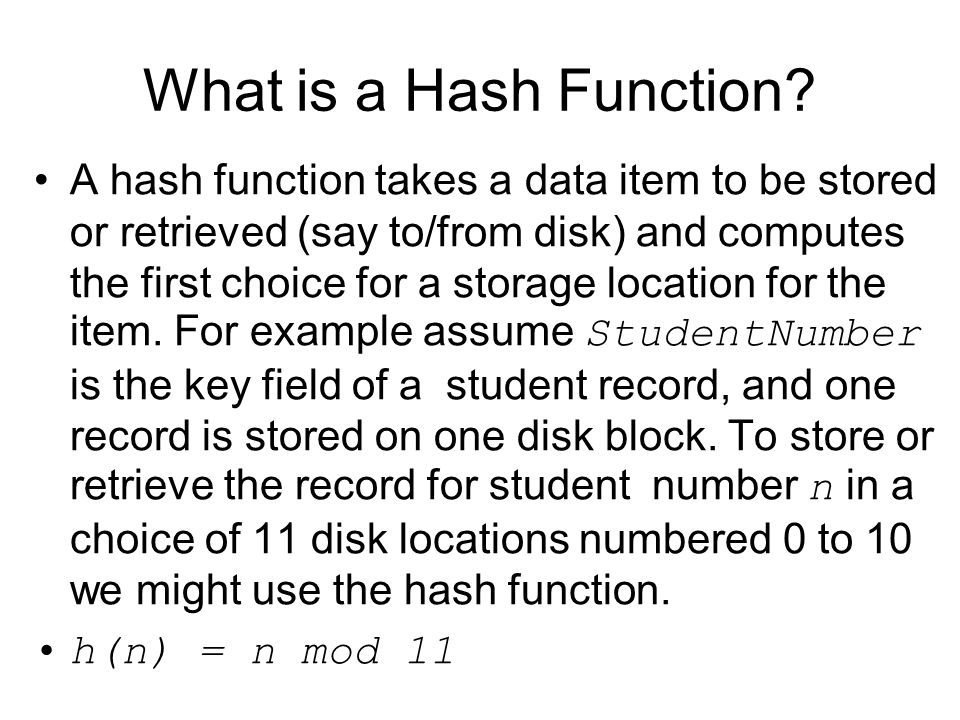 What is a Hash Function