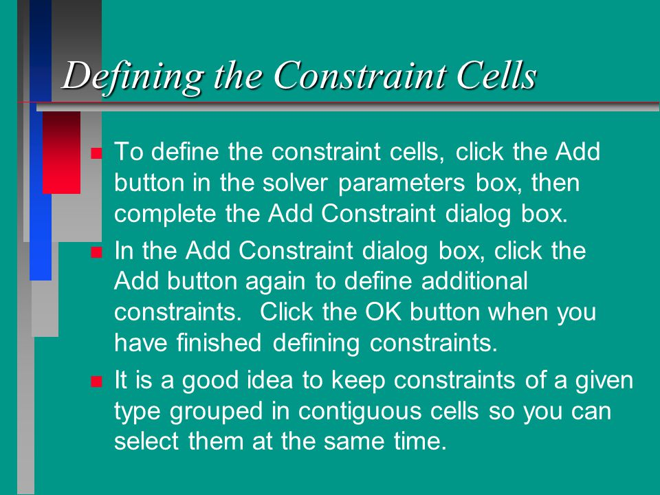 Defining the Constraint Cells