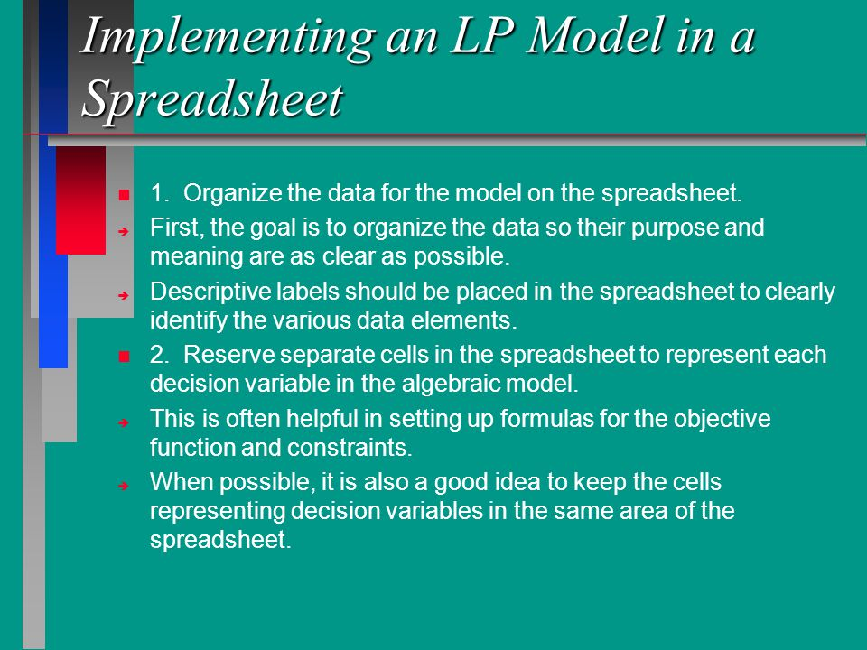 Implementing an LP Model in a Spreadsheet