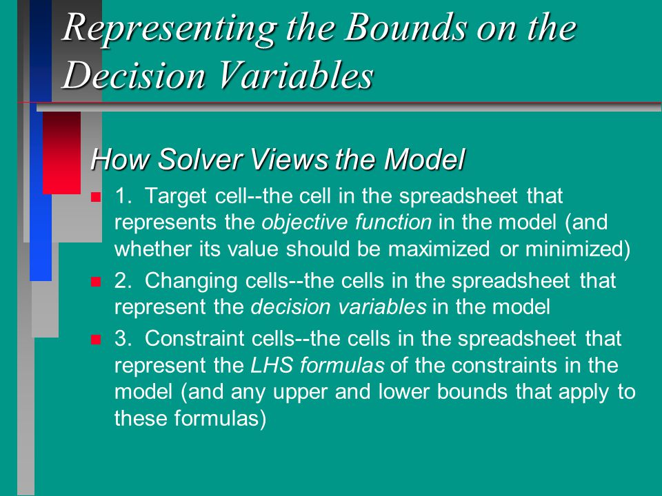 Representing the Bounds on the Decision Variables