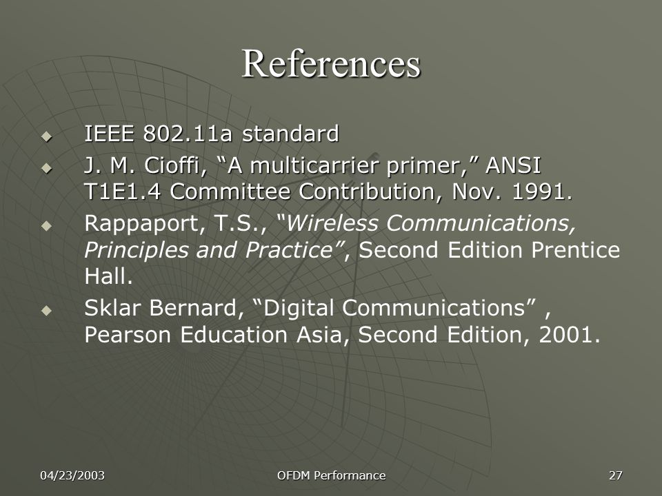 References IEEE 802.11a standard