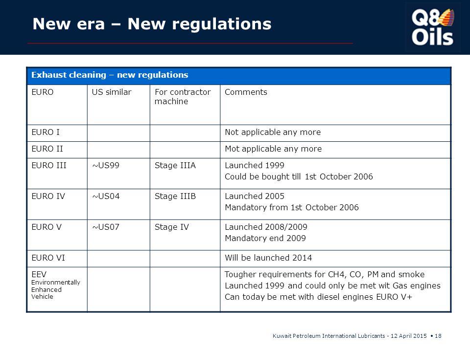New era – New regulations