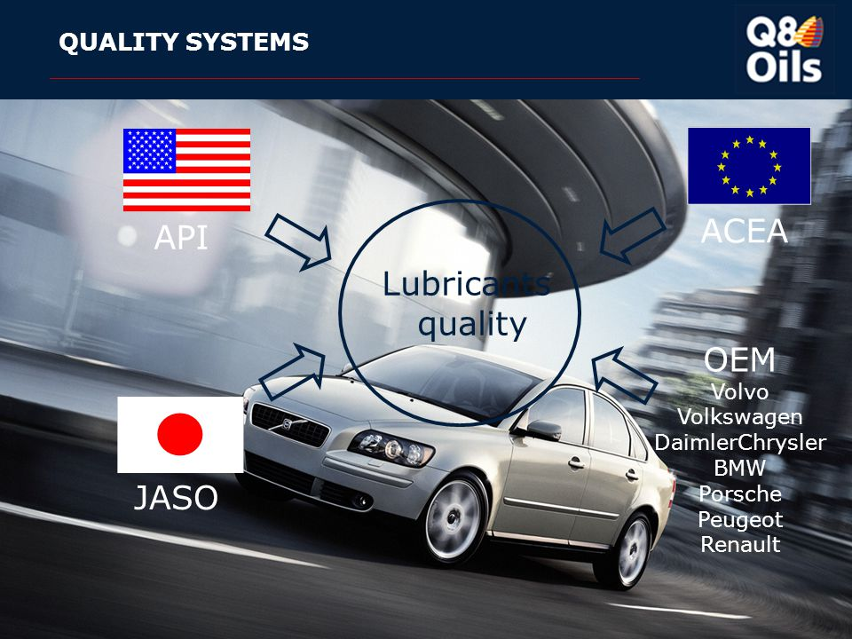 ACEA API Lubricants quality OEM JASO QUALITY SYSTEMS Volvo Volkswagen