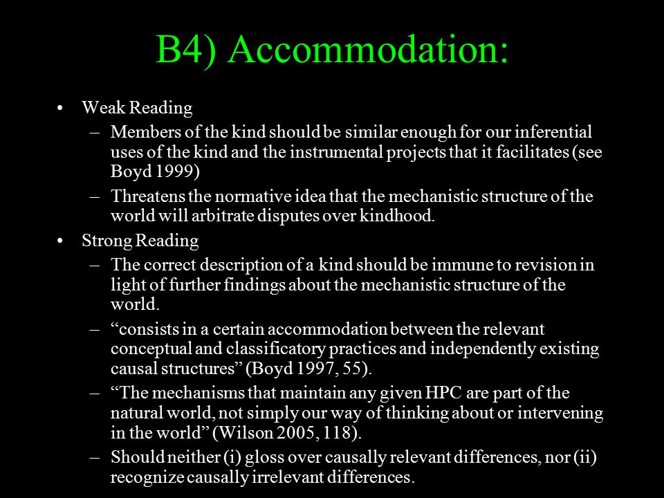 B4) Accommodation: Weak Reading