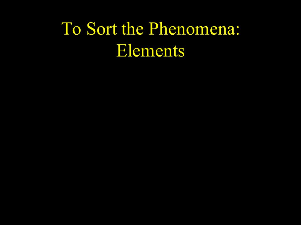 To Sort the Phenomena: Elements