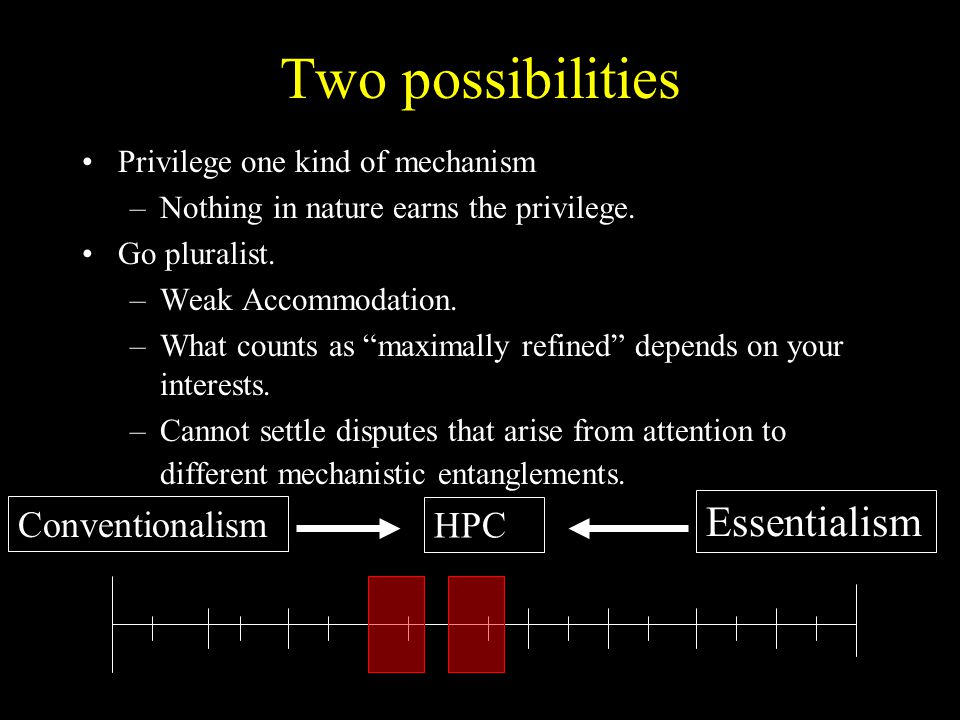Two possibilities Essentialism Conventionalism HPC