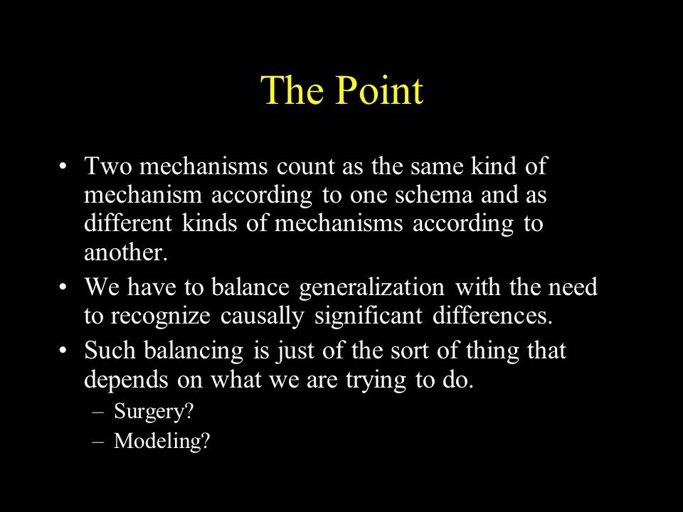 The Point Two mechanisms count as the same kind of mechanism according to one schema and as different kinds of mechanisms according to another.