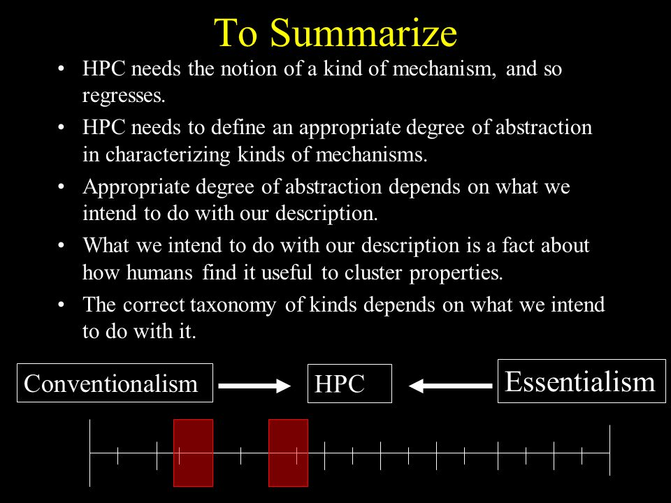 To Summarize Essentialism Conventionalism HPC