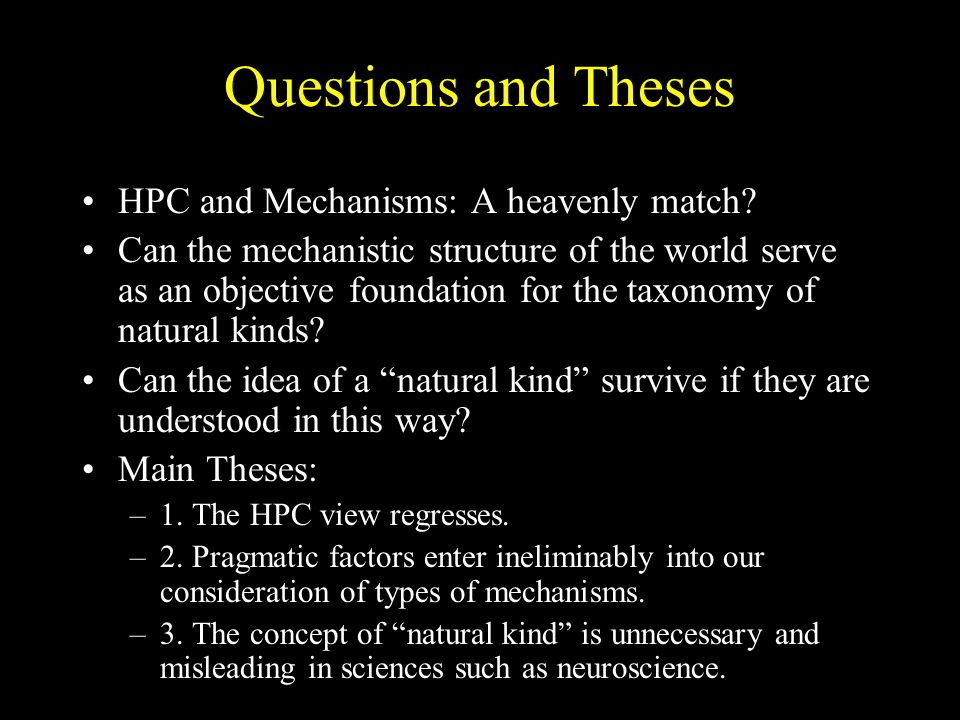 Questions and Theses HPC and Mechanisms: A heavenly match
