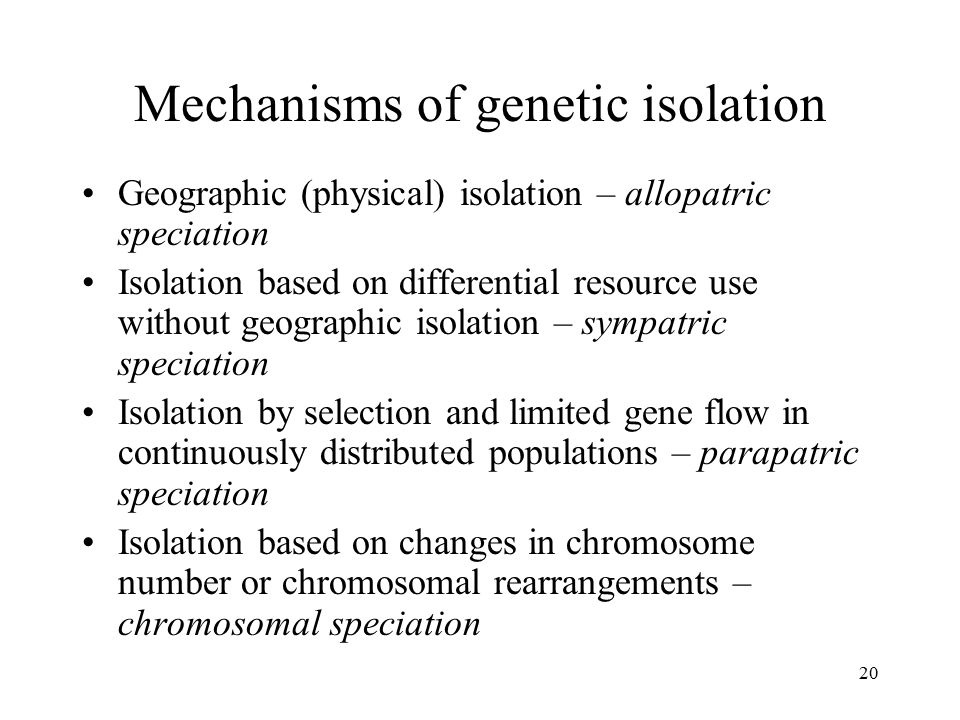 Mechanisms of genetic isolation