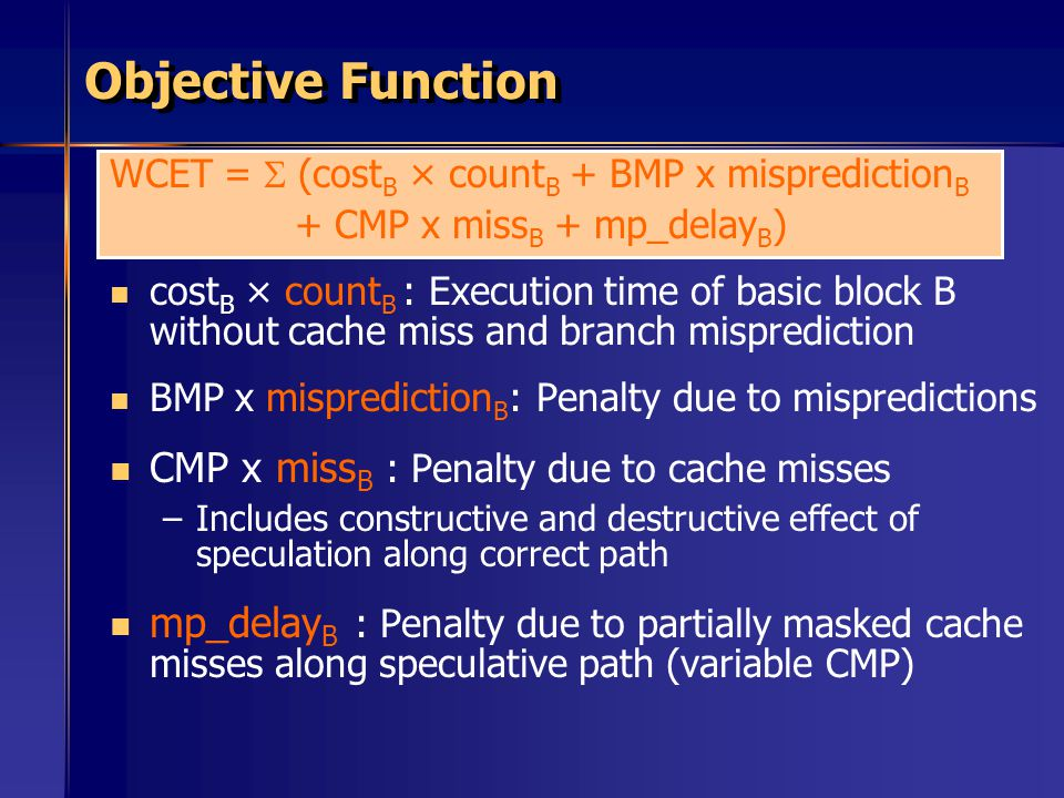 Objective Function CMP x missB : Penalty due to cache misses