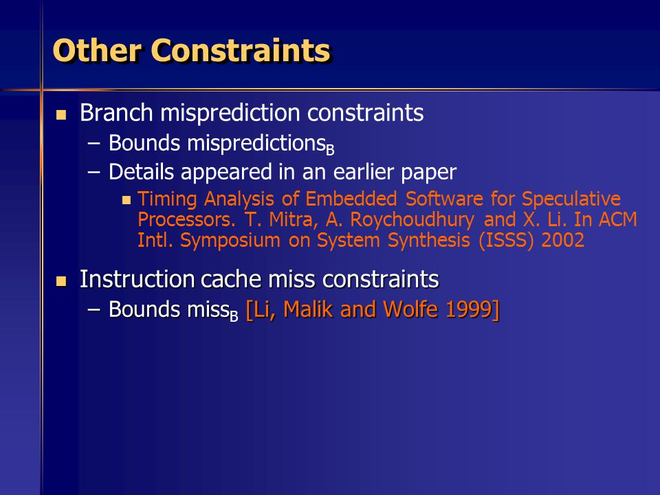 Other Constraints Branch misprediction constraints