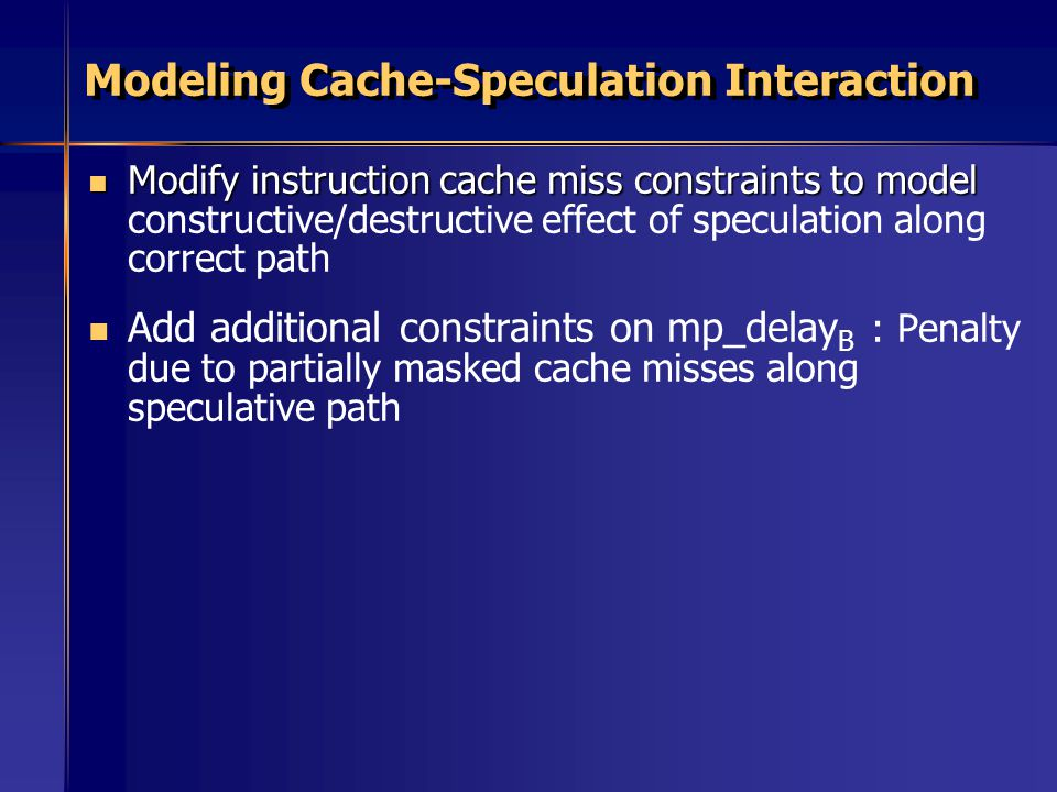 Modeling Cache-Speculation Interaction