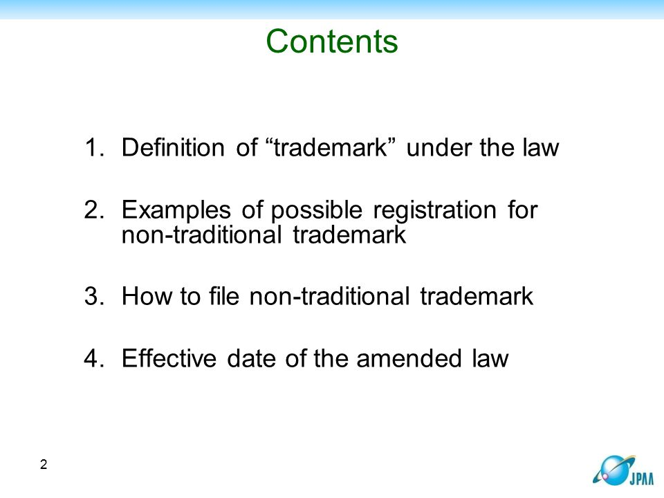 Contents Definition of trademark under the law