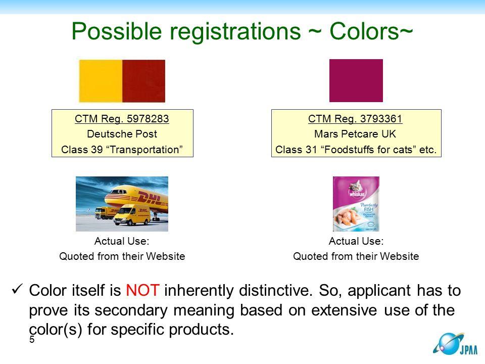Possible registrations ~ Colors~