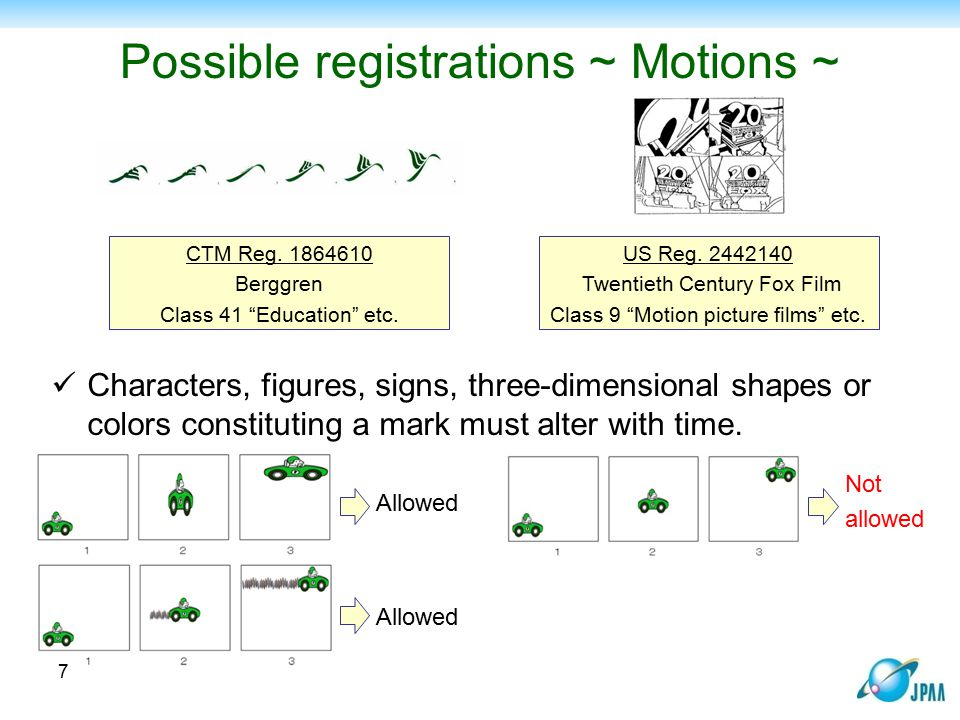 Possible registrations ~ Motions ~
