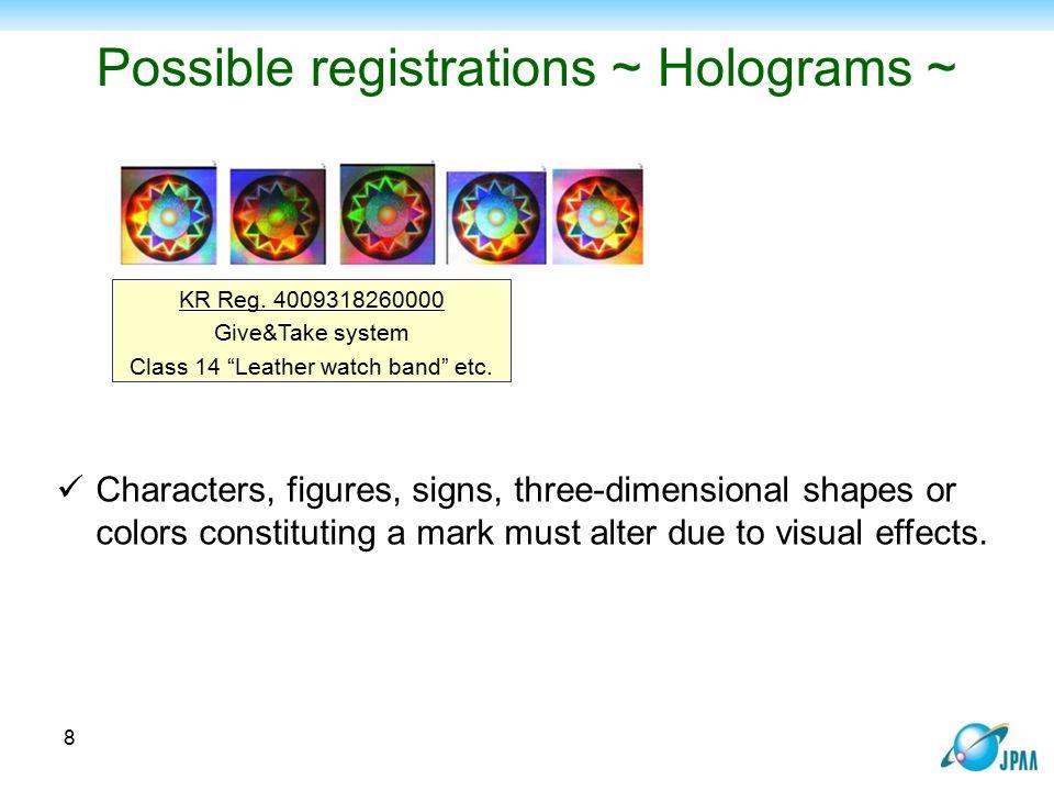 Possible registrations ~ Holograms ~