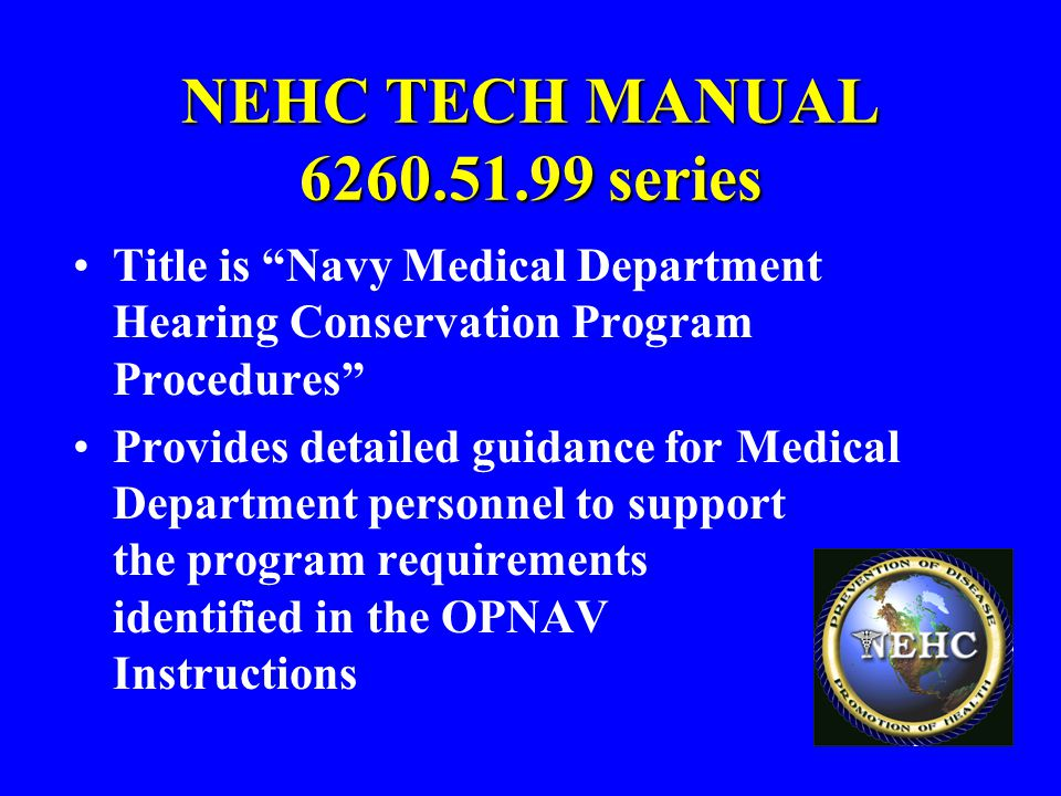 NEHC TECH MANUAL 6260.51.99 series