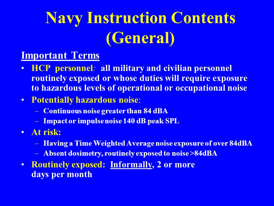 Navy Instruction Contents (General)