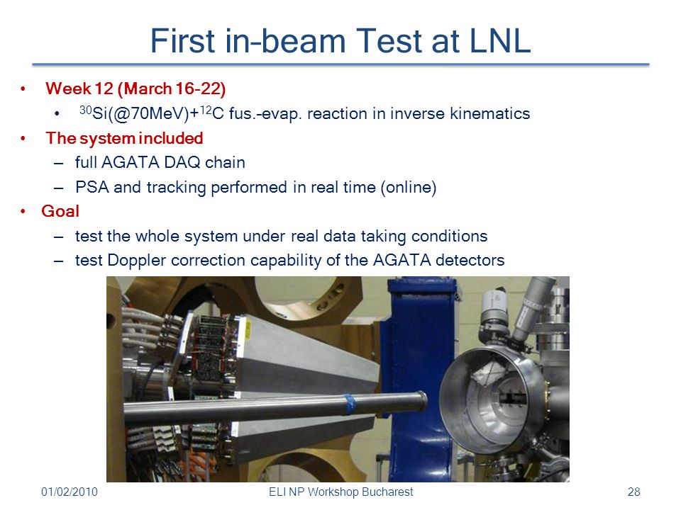 First in–beam Test at LNL