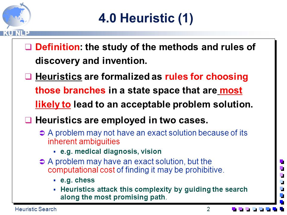 4.0 Heuristic (1) Definition: the study of the methods and rules of discovery and invention.