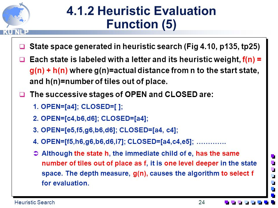 4.1.2 Heuristic Evaluation Function (5)