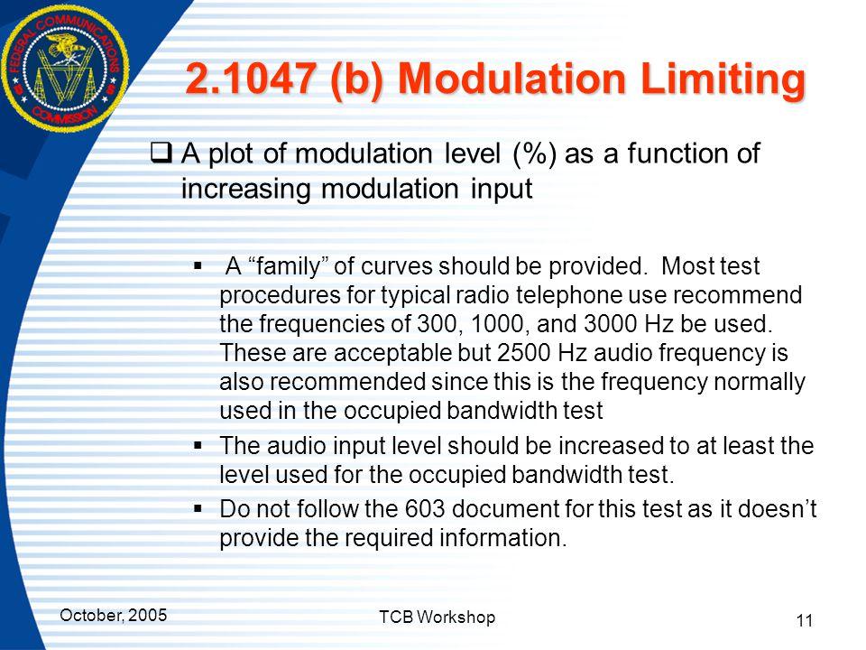 2.1047 (b) Modulation Limiting