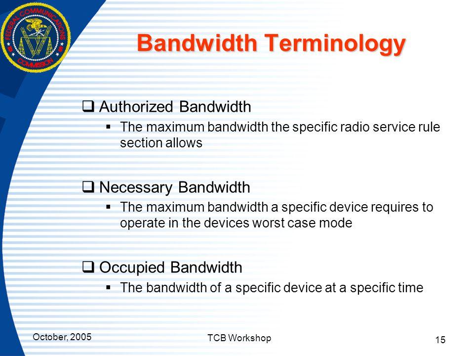 Bandwidth Terminology