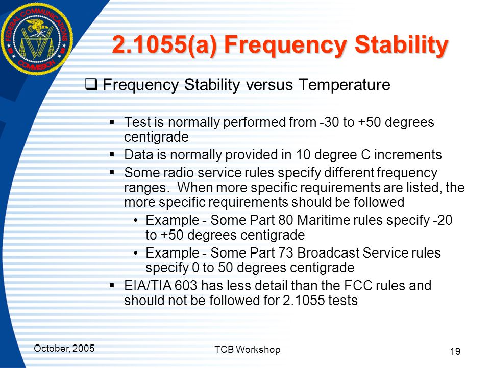 2.1055(a) Frequency Stability