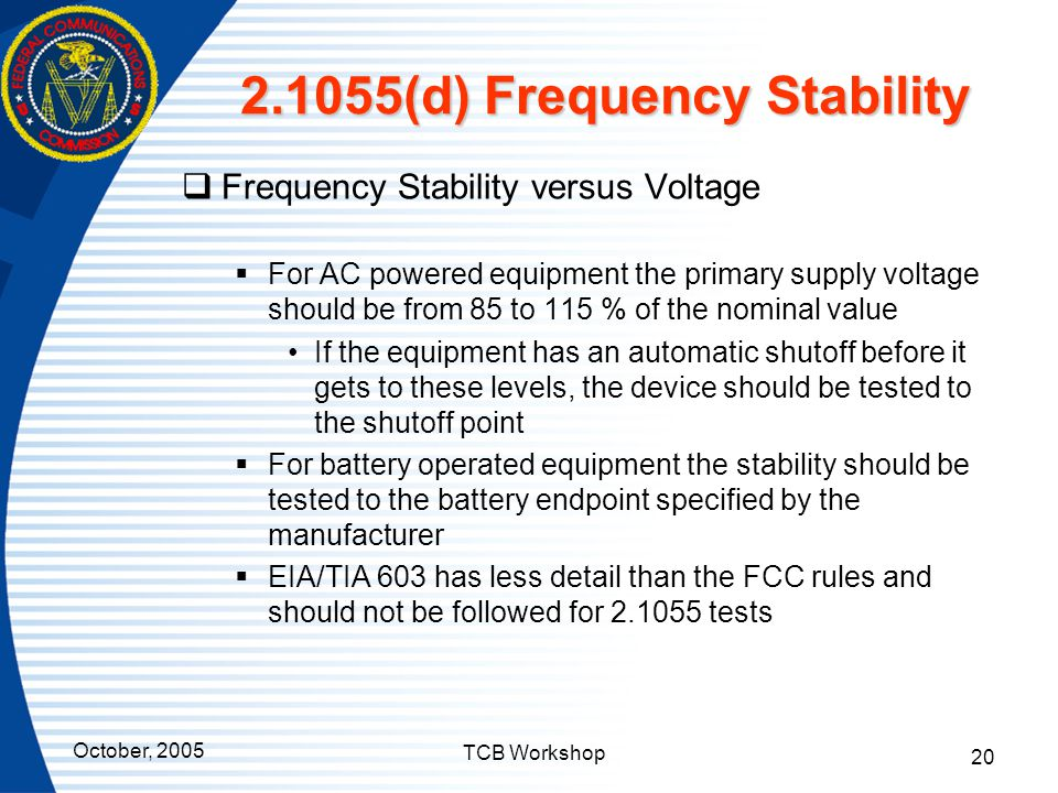 2.1055(d) Frequency Stability
