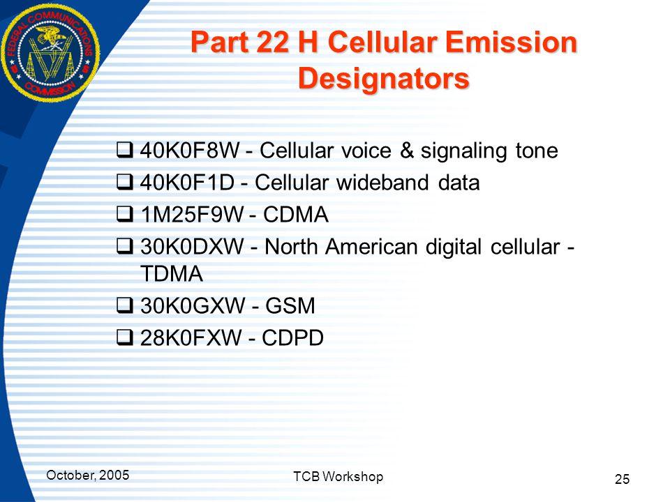 Part 22 H Cellular Emission Designators