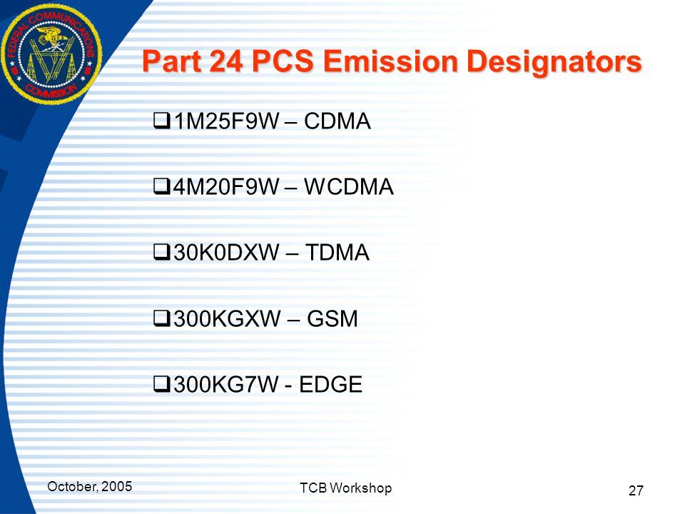 Part 24 PCS Emission Designators