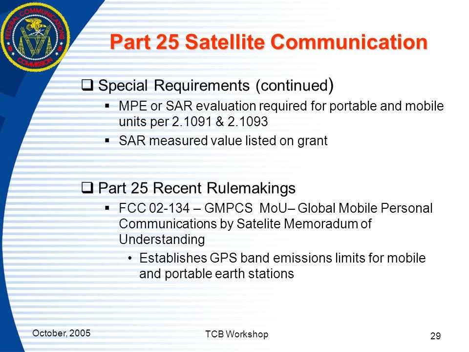 Part 25 Satellite Communication