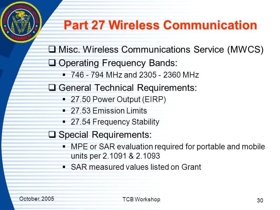 Part 27 Wireless Communication