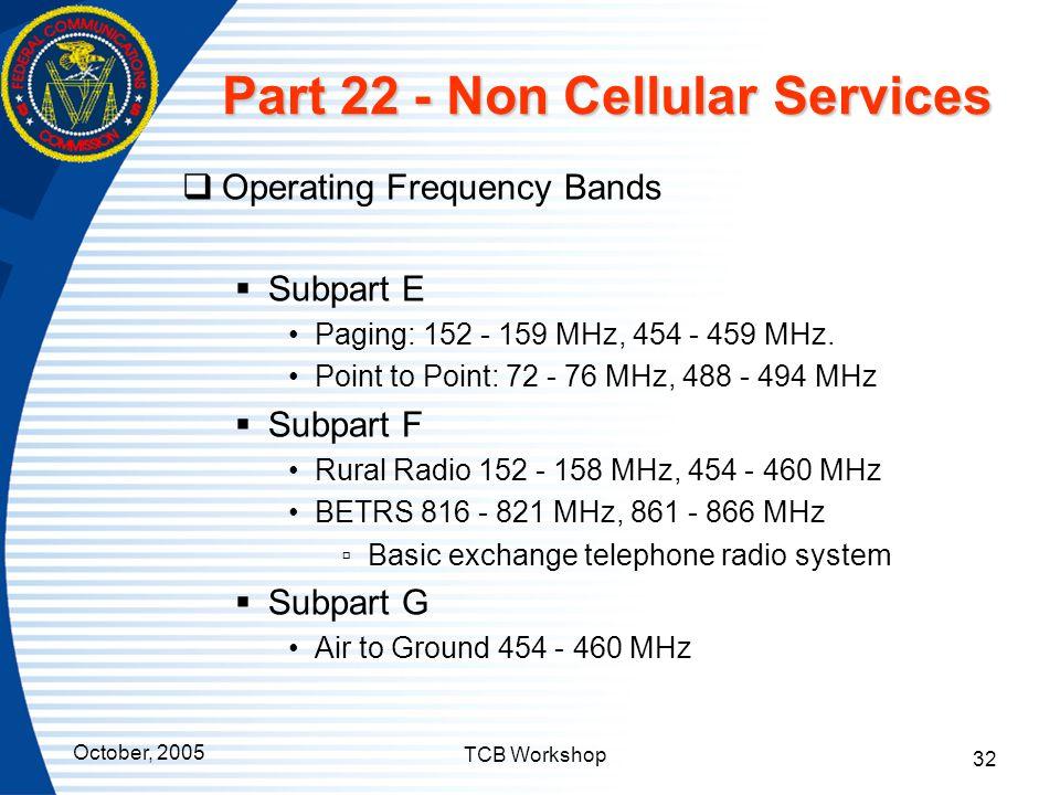 Part 22 - Non Cellular Services