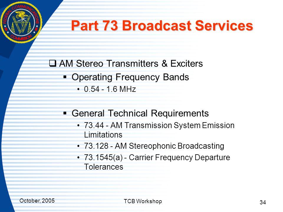 Part 73 Broadcast Services
